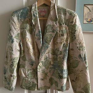 Vintage Rafaella Floral Linen Blazer